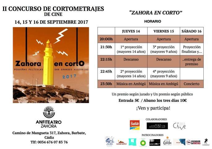 Horarios Zahora en Corto 2017